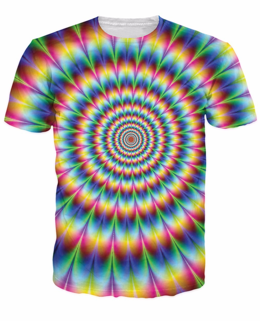 2018 New Arrive 3d Fashion Clothing Women Men Tees Into The Rainbow T-Shirt Psychedelic Colorful T Shirt Summer Style Camisetas