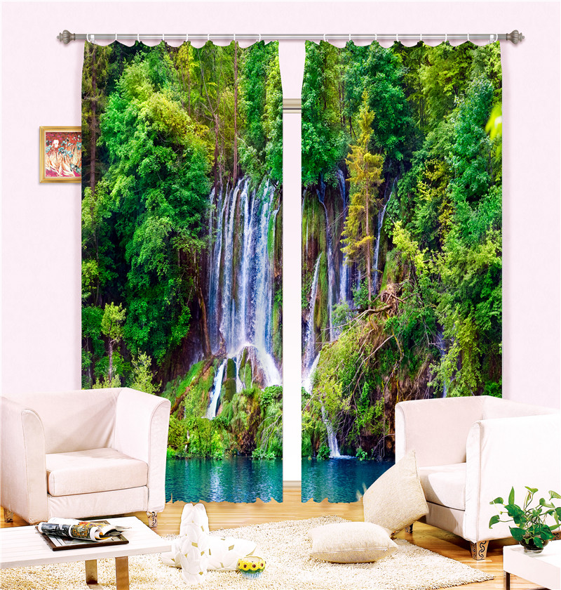 Curtains green print Luxury Blackout 3D Window Curtains  For Living Room office Bedroom Drapes cortinas Rideaux Customized size