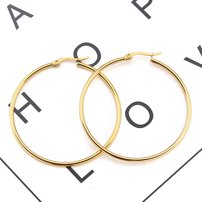 Innopes large hoop earrings 2019 geometric round big hyperbole gold earrings fashion stainless steel jewelry womangs 3