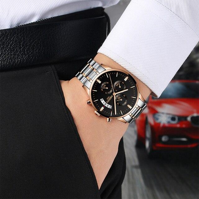 NIBOSI Waterproof Business Watches Men Luxury Brand Quartz Military Watch Leather Steel Men's Wristwatch relogio masculino 3