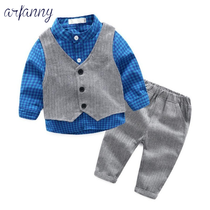 ARFANNY spring and autumn boy clothing 1 year baby plaid shirt vest + trousers 3 baby suit