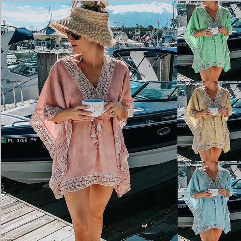 Brand New Women Cover-Ups Fashion Women Lace Patchwork Bathing Suit Lace Tassel Bikini Swimwear Cover Up Casual Loose Hot 2019