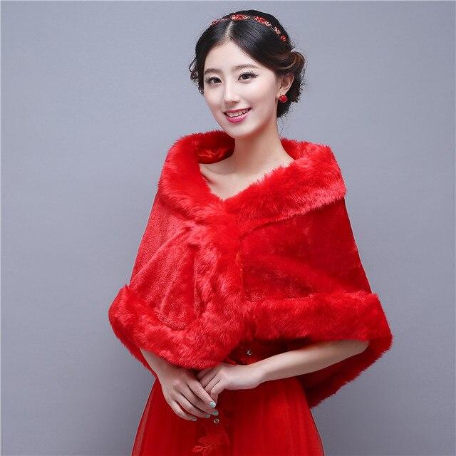 Vermelho da Pele Do Falso Casaco de Inverno Casaco Capa Jaqueta De Casamento Bolero Casamento Bolero Mulheres Xaile Acessórios Para Casamentos Vestido de Noite Bolero