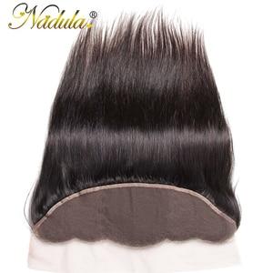 Image 2 - Игрока Nadula волос 13x4 бразильские прямые волосы наращивание спереди на косички 10 20 дюймов Бесплатная Часть Закрытие 130% плотность Волосы Remy Бесплатная доставка