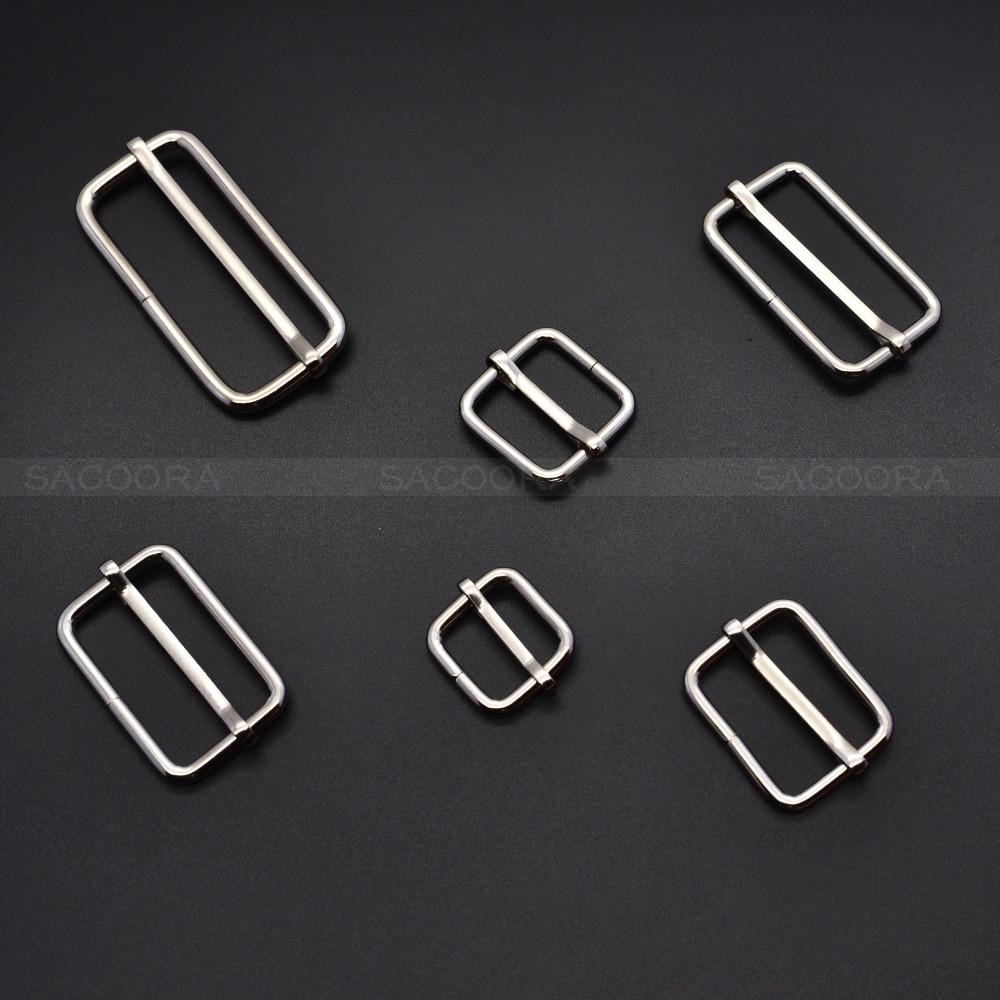 10 Stks/pak Zilveren Metalen Slides Tri-glijdt Wire-gevormde Roller Pin Gespen Strap Slider Richter Gespen Laatste Mode