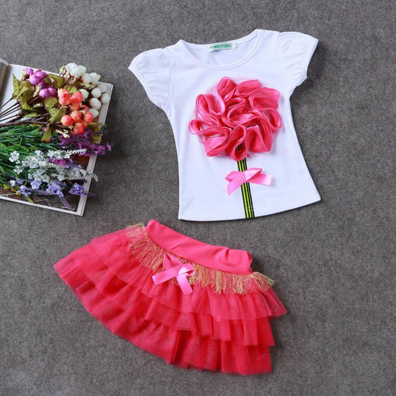 Spring Baby Kids Girls Cute Cloth Set Toddler Princess Party Flower T-Shirt+Tulle Tutu Skirt 4 Colors 2PCS new fashion toddler kids baby girls clothes vest t shirts tulle tutu skirts princess 2pcs sets summer cute outfits