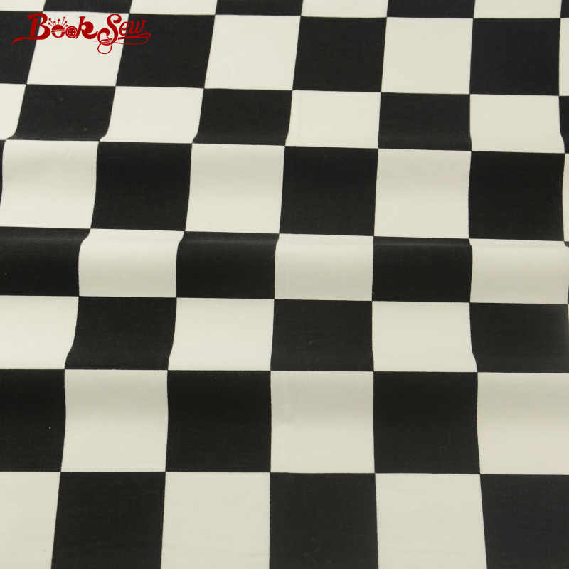 Booksew Black and White Checks 100% Cotton Fabric Twill High Quality Sewing Clothing Baby Textile Dress Tela