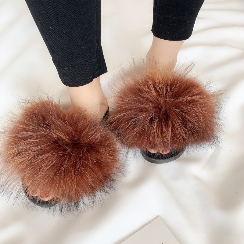 Raccoon Fur Slides for Women Fluffy Furry Slippers Real Fur Fluffy Sliders Winter Indoor Fuzzy Home Slippers Flat Flip Flops