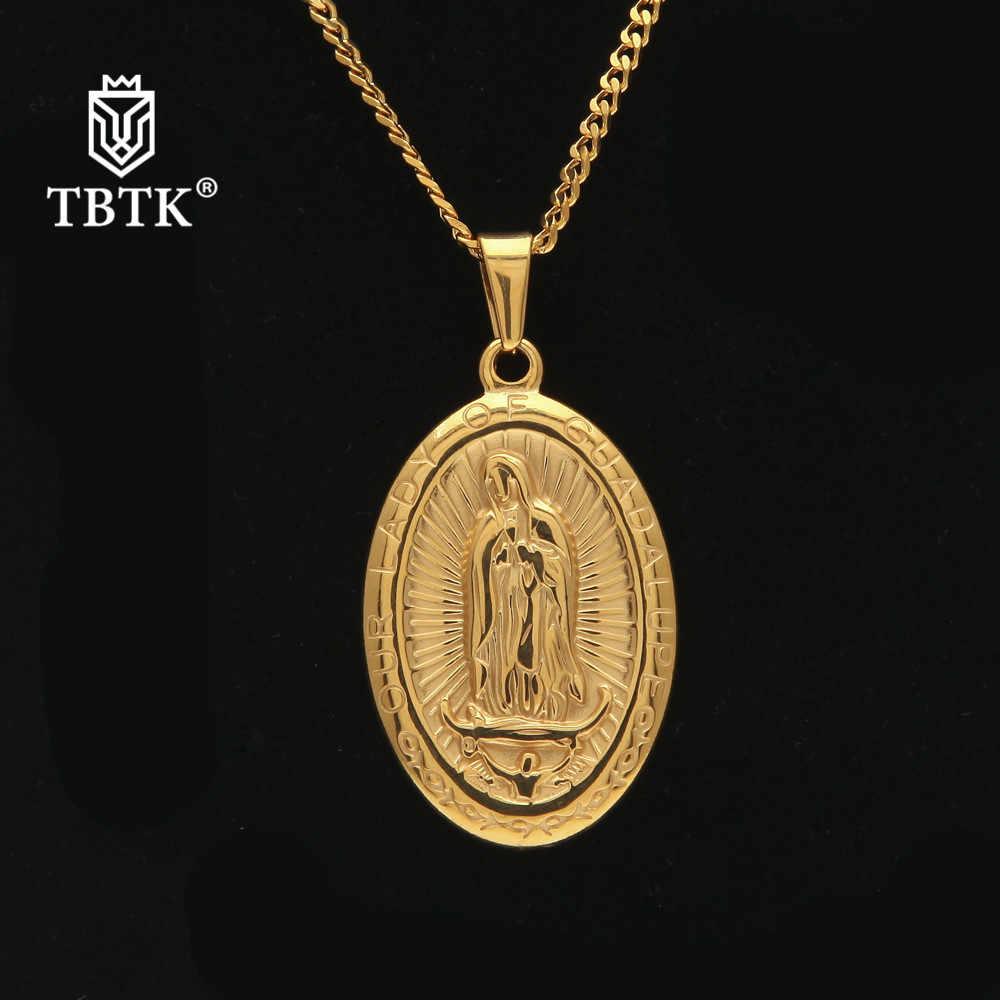 TBTK Religious Pendant Sunken Oval Virgin Mary Pattern Metal Pendant Necklace Simple Retro Jewelry Punk Party Gift Unisex Trendy