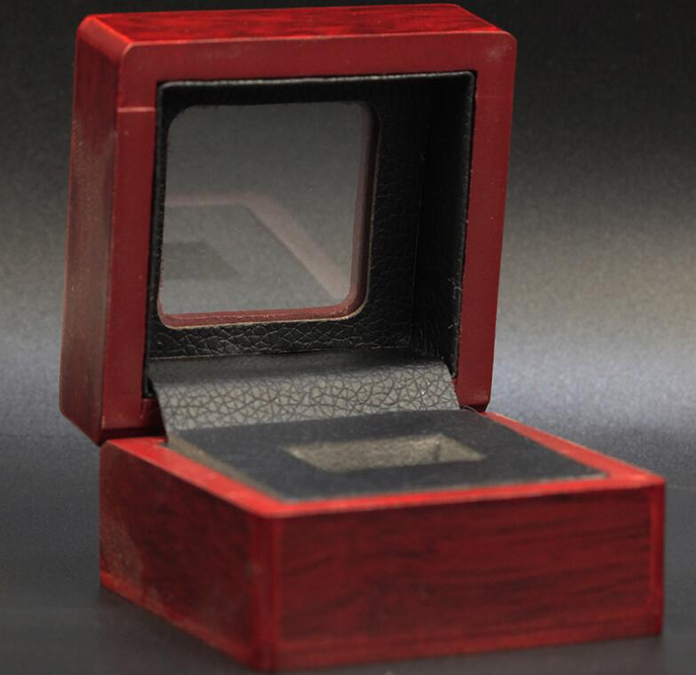 ONE RING WOODEN CASE CHAMPIONSHIP RING DISPLAY BOX CLEAR TOP 7*7*5.2(CM) DROP SHIPPING BY CARSON