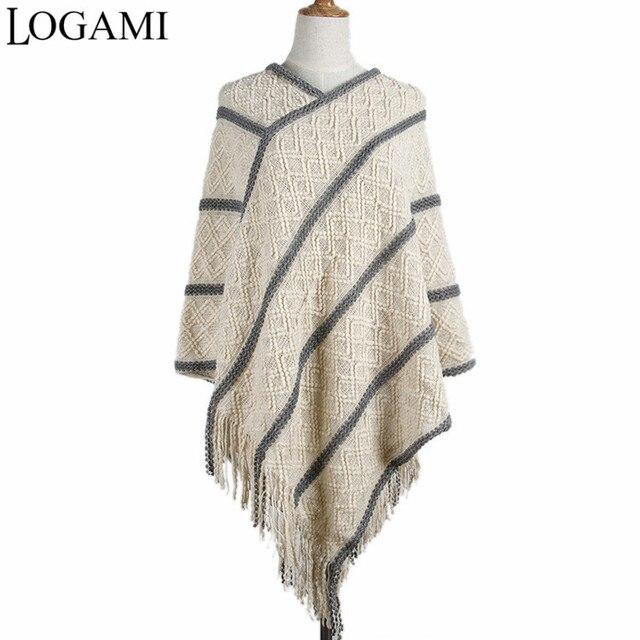 LOGAMI Dames Poncho Manteaux À Tricoter Ponchos long Pour Femmes Crochet  Irrégulière Rayures V Cou Gland ba067c3d6be