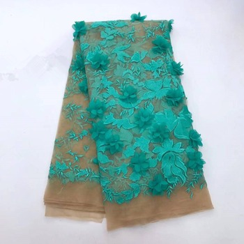 2018 New style French net lace fabric 3D flower African tulle mesh lace fabric high quality nigerian lace fabrics for women -L5