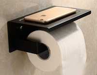 Free Shipping Stainless Steel Wall Mounted black Toilet Paper Holder Bathroom Black Paper Tissue Roller Rod Square Shape SM999