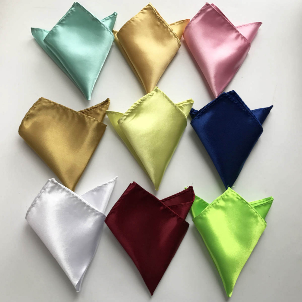 Wholesale Fashion Mens Plain Solid Pocket Square Wedding Satin Handkerchief