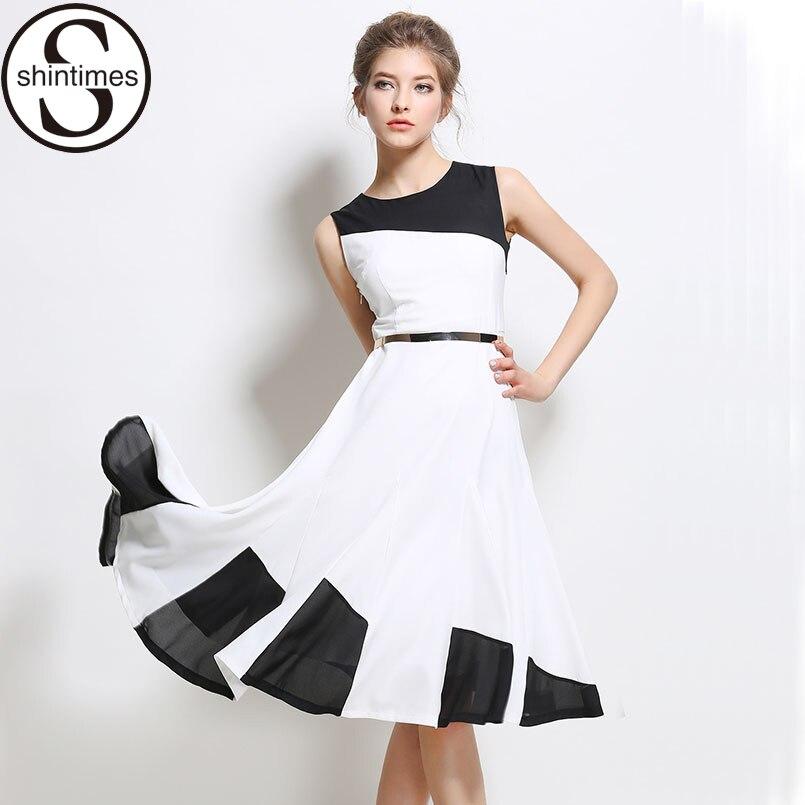Robe Femme Summer Dress 2017 Office White Chiffon Evening Party Women Dresses Woman Sleeveless Casual Vestidos