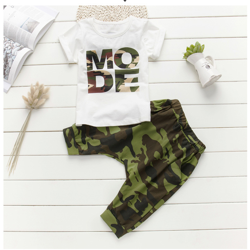 Camouflage kids Summer suits for boys Boy set kids hip hop clothing Boys set Cotton t-shirt+shorts 2pcs for 3 5 6 8 10 12 years