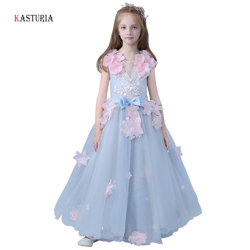 все цены на New Trend girls dresses 2018 sleeveless princess dress flower girls wedding unicorn dress girl party gowns children kids dress