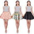 New Women's Pleated Fresh Floral Chiffon Slim Hip Skirt loose Skirt Short Female Bust Saias Femininas Skirts