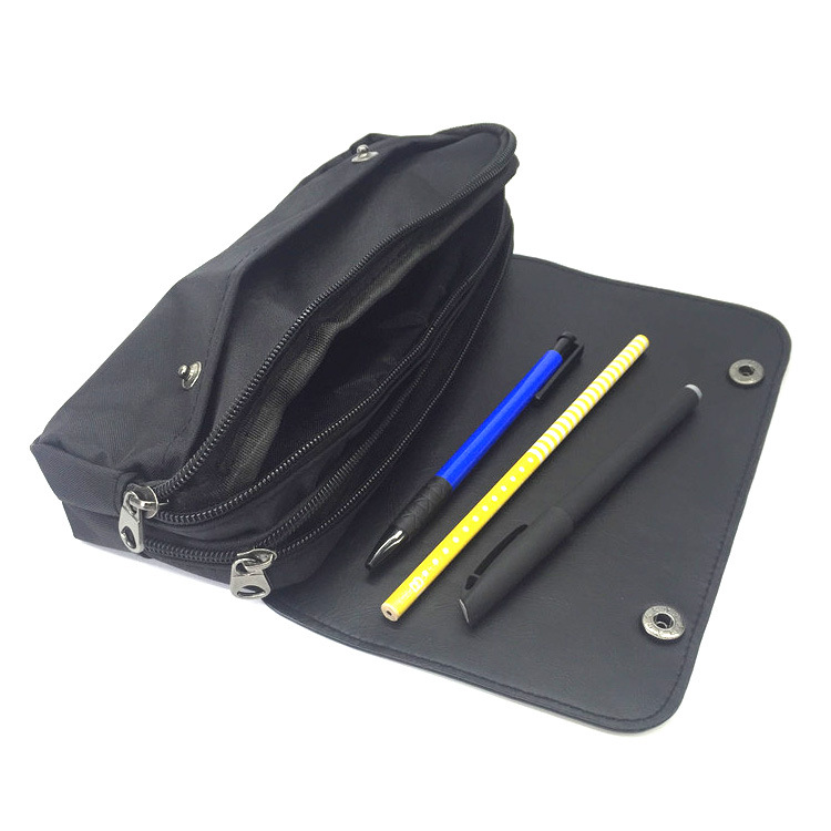 New dead waiter double zipper pen bag pu leather flip large capacity student pencil pen pen stationery box office stationery in Pencil Bags from Office School Supplies