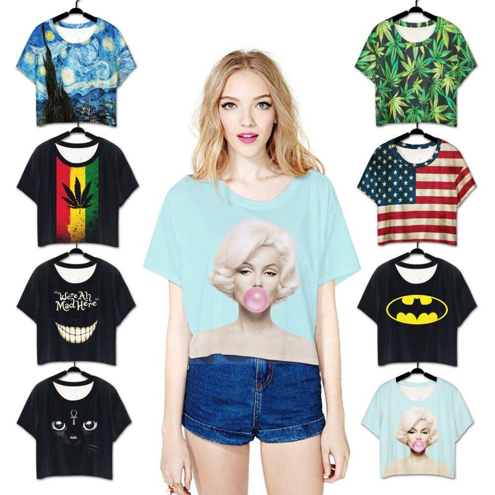 Shirt design printing - 2015 New Women Design Black Tops Sexy Marilyn Monroe Print Summer Punk Printing Simple T Shirt