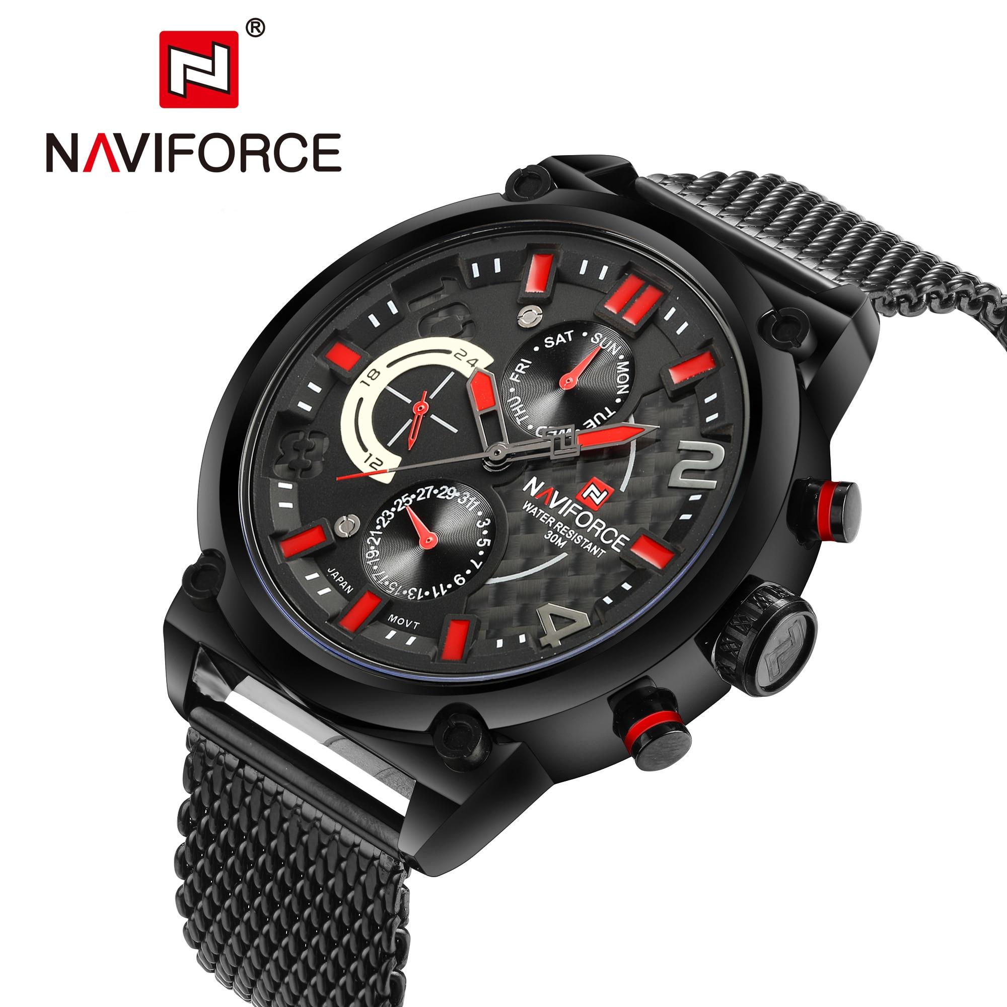 Luxury Brand Quartz Watch Men Casual Sport Watches Fashion Steel Strap Military Waterproof Wristwatch NAVIFORCE Men