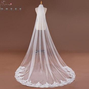 3c1c475101 Gasa de mariage 3 M borde de encaje blanco marfil boda velos 2019 tul suave accesorios  Boda nupcial velo de novia