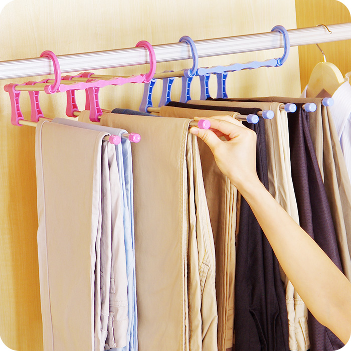 Clothes Hanger Multi Functional Steel Magic Non Slip Trousers Rack Five In One Telescopic Multi Layer Rack Air Drying Rack