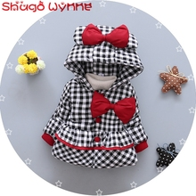 Winter Baby Girls Cotton Long Sleeve Hooded Plaid Check Bow Thick Warm Princess Jacket Kids Parkas Outerwear Coat casaco roupas