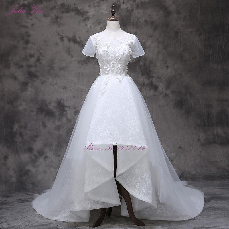 2017 Vestidos De Novias s malým 3D květinovým krátkým rukávem A - Svatební šaty - Fotografie 1