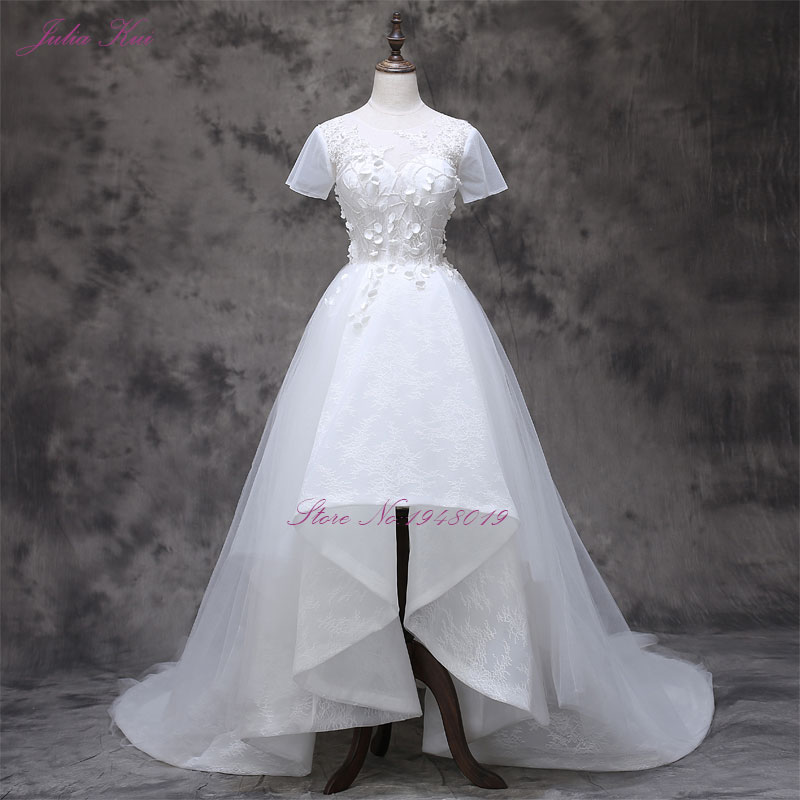 2017 Vestidos De Novias cu mica floare 3D cu maneci scurte o linie - Rochii de mireasa - Fotografie 1