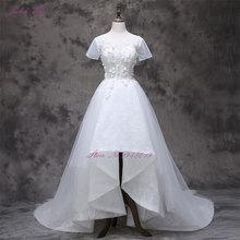 2017 Pernikahan & De Novias Dengan Kecil 3D Bunga Lengan Pendek A Line Tinggi Rendah Wedding Dresses Baru Kedatangan Gaun Pengantin