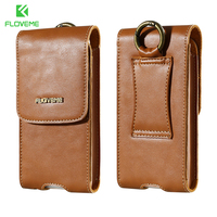 FLOVEME Luxury Genuine Leather Cellphone Cases For IPhone 6 Plus 6S Plus Case With Clip Belt