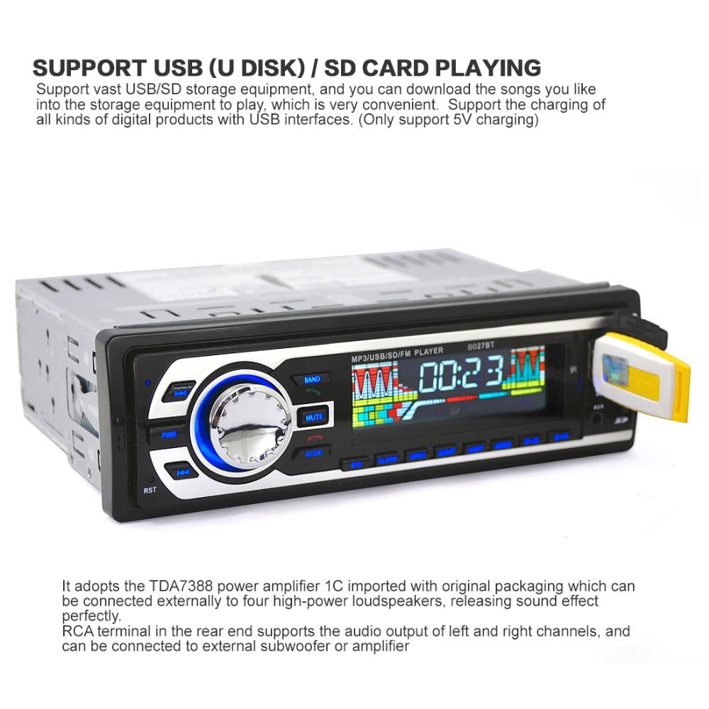 1 Din Car Audio Player In-dash Autoradio Car Radio MP3 Player tuner stereo BT FM USB/SD Port Aux-in Remote Control OLED screen