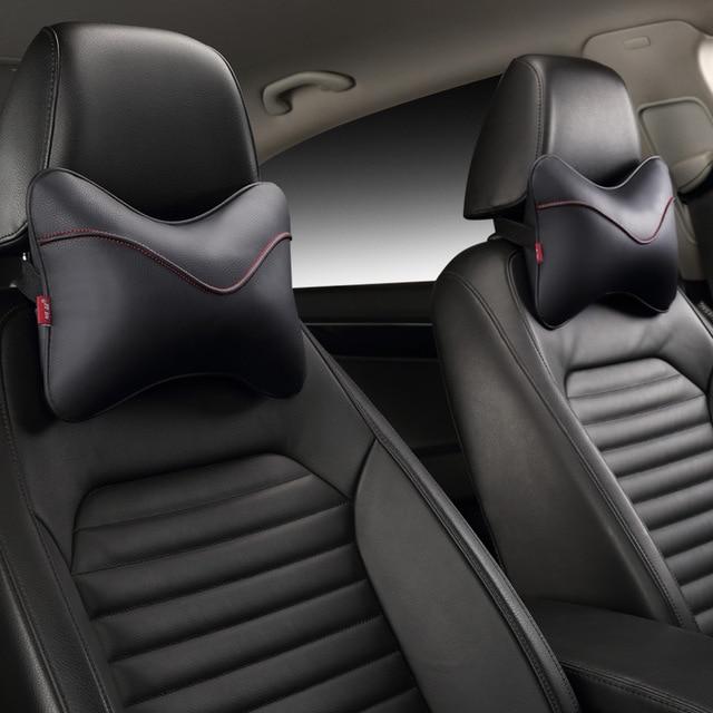Hot sale leather car headrest neck pillow car Seat Cover Head Neck