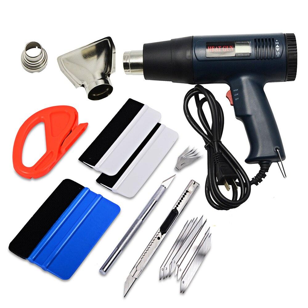 FOSHIO carbone vinyle Film voiture Wrap outils ensemble 1800 W US/EU pistolet à Air chaud pistolet à chaleur voiture autocollant dissolvant coupe couteau Auto voiture accessoires