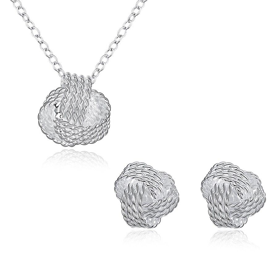 AKOYW Women s Necklace Pendant Silver Earrings Jewelry Set Simple Knitting Spherical Earrings Pendant Set female