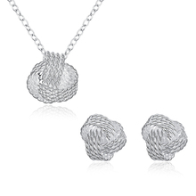 AKOYW Women 's Necklace Pendant + Silver Earrings Jewelry Set Simple Knitting Spherical Earrings Pendant Set female jewelry