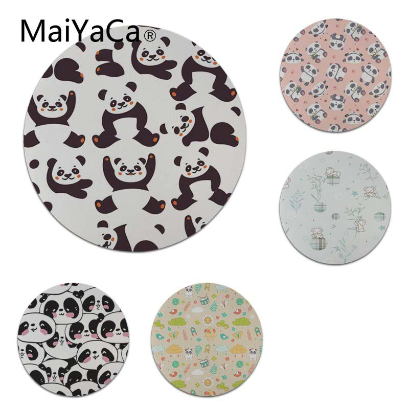 MaiYaCa Vintage Cool Cartoon Panda Texture Gamer Speed Mice Retail Rubber Mousepad Size for 20x20cm and 22x22cm Round Mousemats