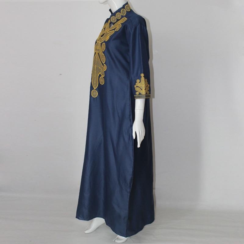 2017 afrika yaz lady maxi dress riche bazin embroiderd gömlek dress - Ulusal Kıyafetler - Fotoğraf 2