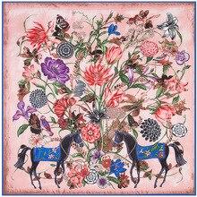 Super Large Twill Silk Women Scarf 130*130 cm Luxury Flower Horse Print Square Scarves High Quality Gift Fashion Shawls Headband