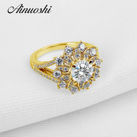 AINUOSHI 10K Solid Yellow Gold Wedding Ring 1.25 CT Lab Grown Diamond Shinning Art Deco Party Rings Trendy Fine Jewelry Design