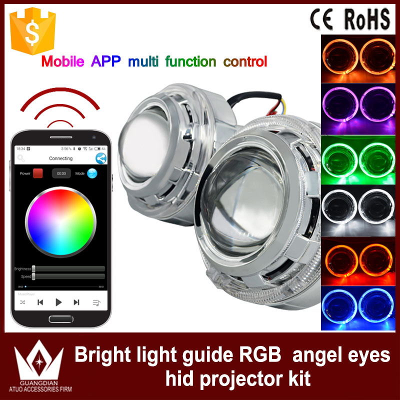 GuangDian Auto angel eyes light for headlight HID Bi-xenon lens Bluetooth with APP Remote Control RGB Angel Eyes For BMW M3 M4 free delivery fit moto guzzi breva 1100 1200 sport motorcyclemodified cnc non slip handlebar single folding brakes clutch levers