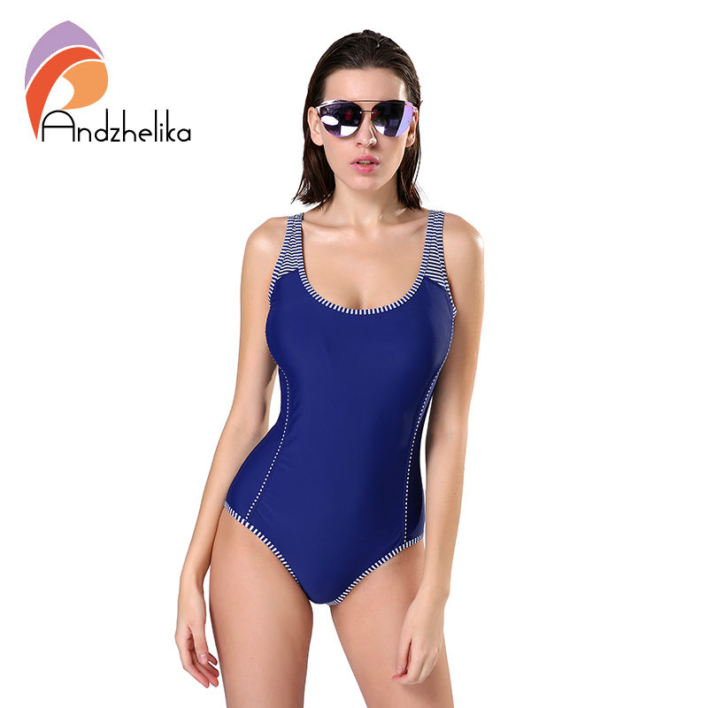 Andzhelika One Piece Swimsuit Plus Size Swimwear Women Solid Patchwork Swimwear Sexy Halter Summer Bathing Suit Monokini Swim andzhelika 2017 women dress one piece swimwear swimsuit sexy v neck swim polka dot bodysuits plus size bathing suit monokini