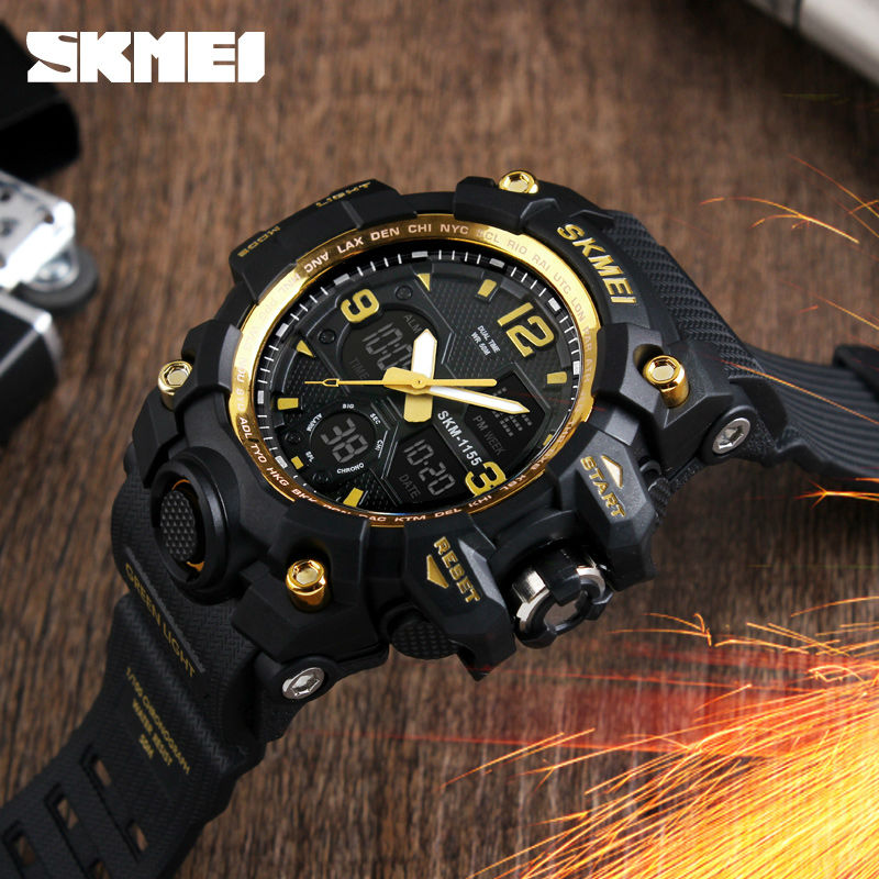 SKMEI Men Big Dial LED Digital Quartz Watch Alarm Dual Display Wristwatches Relogio Masculino Waterproof Fashion Sport Watches skmei skmei big dial dual time display sport digital watch men chronograph analog led electronic wristwatch s shock clock