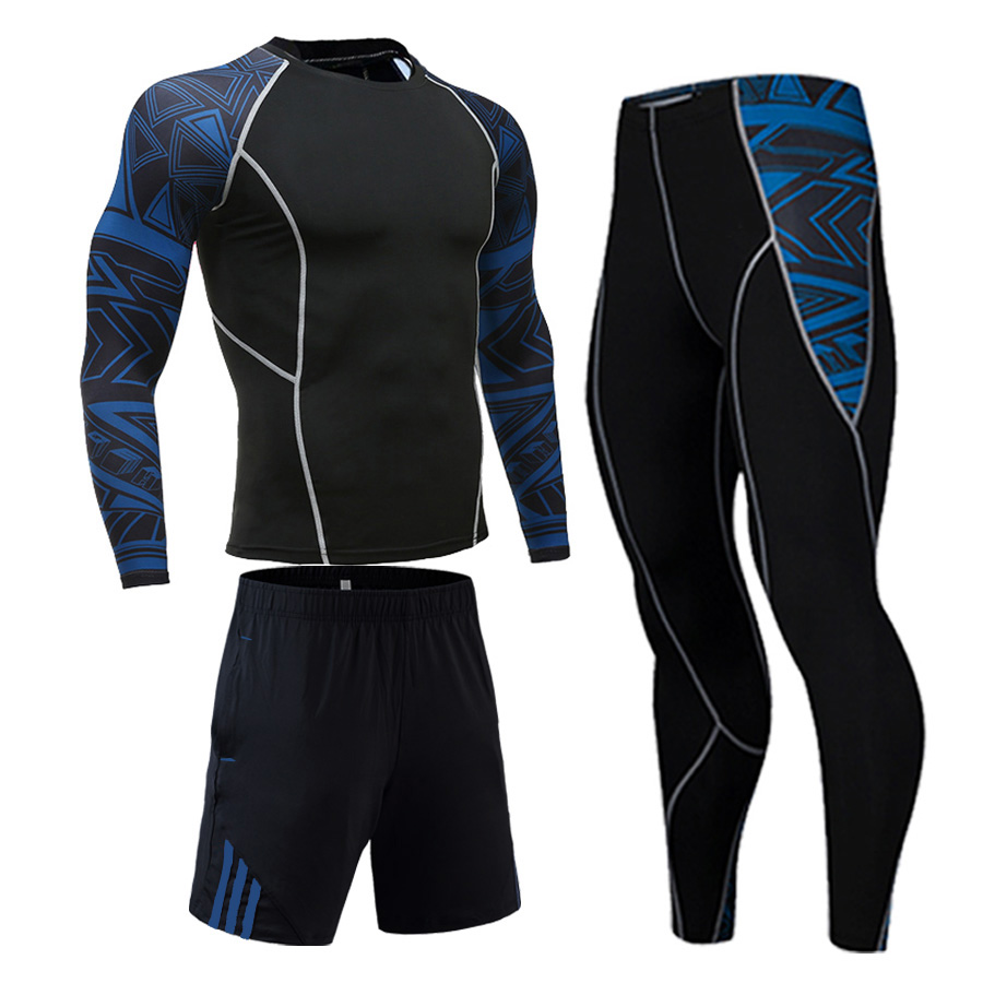 Fitness 3 Piece Tracksuit Men Gym T-shirt Sports Shorts Leggings Workout Suit MMA Rashgard Male Thermal Underwear Factory Outlet