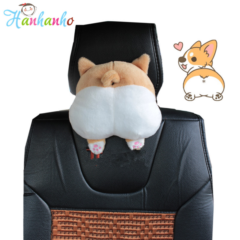 Nyhet Corgi Bottom Car Seat Nacke Kudde Hund Buttocks Gullig Cartoon Headrest Kudde Plush Toy Bil tillbehör 20cm