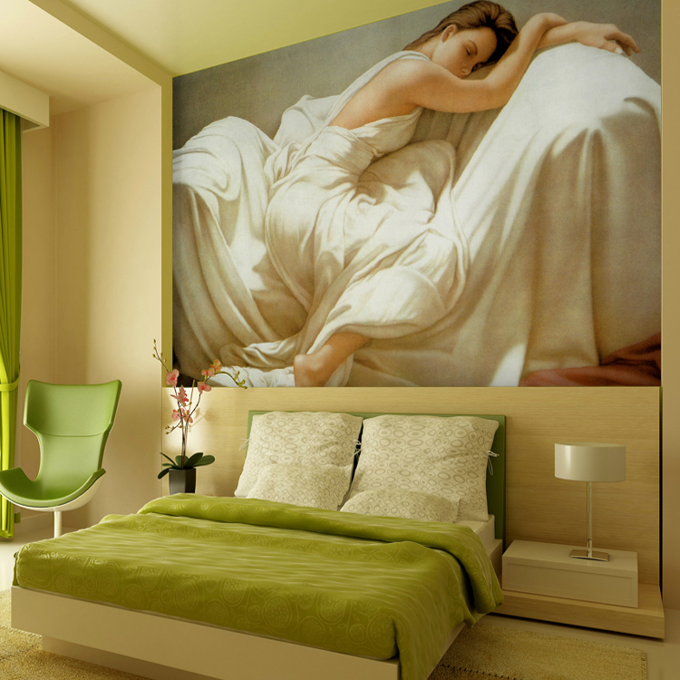 Free Shipping European oil painting beauty large mural wallpaper bedroom sleeping beauty wallpaper mural