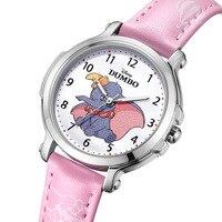 Disney brand children wristwatches quartz waterproof leather child watches Cartoon anime Dumbo