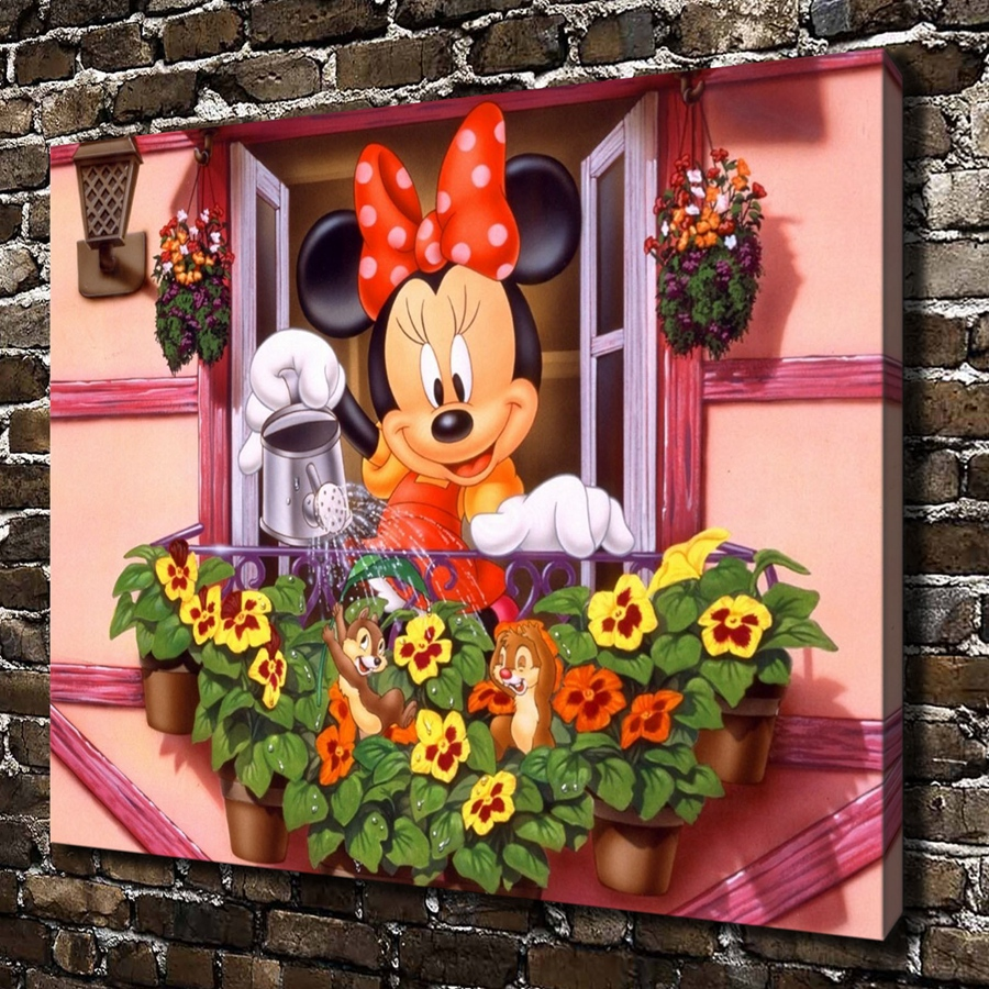 Watercolor Cartoon Minnie Mickey Mouse Posters Prints Canvas