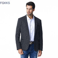 FGKKS Men Blazer Suit Fashion Slim Fit Brand Design Plus Size M 5XL Suit Blazer Male Black Business Casual Suit Jacket